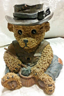 Vintage Coin Bank Oung Teddy Rustic Bear w Fish Fishing Pole Fisherman Gift Idea