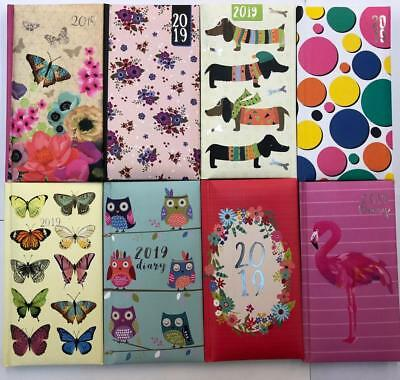 2019 Slim Fashion Diary 8 Design Assorted Week To View Patterned Hardback New