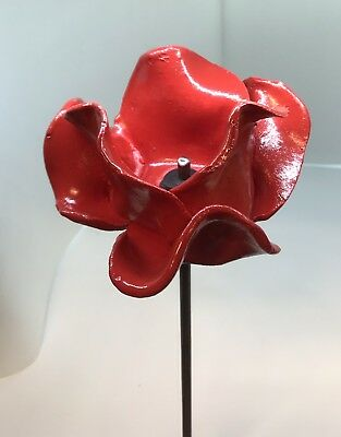 Red Ceramic Poppy On Steel Stem. Hand Made.