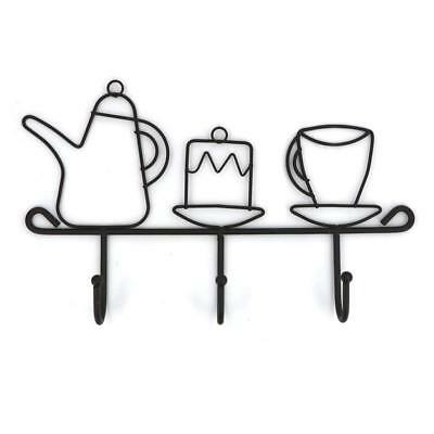 OMMITO Wall Mounted Hooks Rack,11 Inches Iron 3 Hooks Kitchen Home Restaurant...