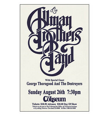Allman Brothers / George Thorogood 1990 Cleveland Concert Poster