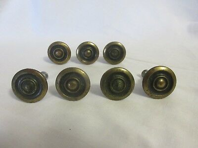 Set of 7 Used Solid Brass Cabinet Drawer Pull Knobs w/ Screws