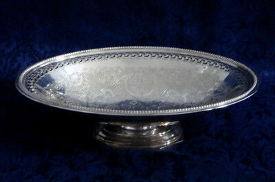 "Vintage Barker Ellis Silver Plate Footed Oval Bowl Menorah Mark 11"" England"
