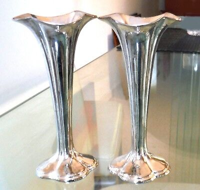 Pair Silver Plated Vases-Pretty Lobed Shape-Mid Century