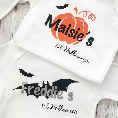 First halloween baby vest outfit top Boys Girls Pumpkin Bat