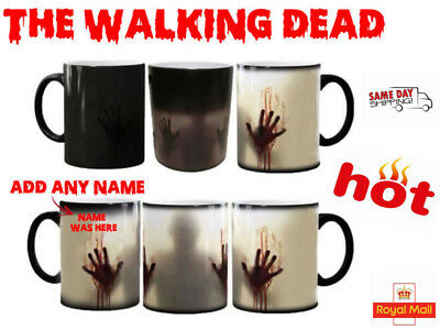 Personalised Walking Dead Magic Mug Zombie Colour Change Heat Coffee Halloween..