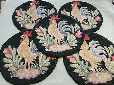 """VTG HOOKED RUG Rooster Chair Seat Covers Pads Cushions Set Of 5  15"""" Round"""