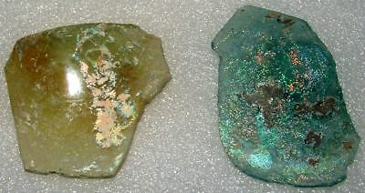 lot of 2 ancient roman glass fragments with very lovely patina amazing.