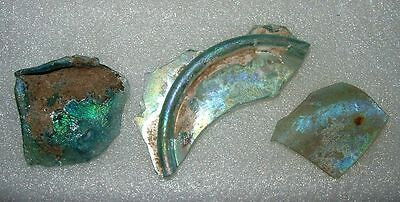 lot of 3 ancient roman glass fragments with very lovely patina amazing.