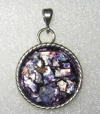 ancient roman glass fragment with very lovely patina pendant