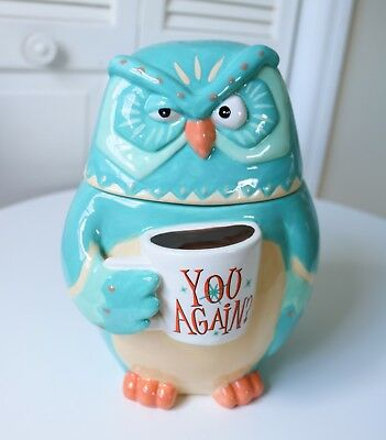 NEW! Cookie Jar Funny Owl Ceramic Blue Canister Fall Home Decor Thanksgiving