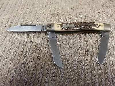 VINTAGE SCHRADE UNCLE HENRY 885UH 3-BLADE FOLDING POCKET KNIFE Free Shipping!!