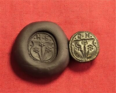 Fine Medieval Seal, Wax Seal With Monogram, 16. Century