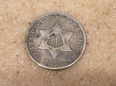 1853 3 cent silver trime VF Very Fine coin bent