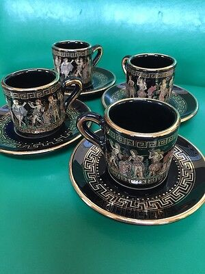 Amazing Espresso Coffee Demitasse Set BLACK W/24k GOLD Hand Made In Greece Greek