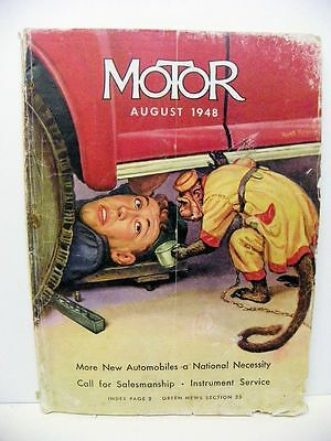1948 August Motor Magazine Illustrated Front Cover Vintage Car Ads