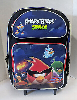 Angry Birds Rolling Backpack! Black Space Large Roller School 16