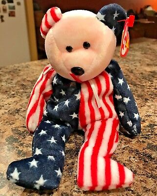 Ty Spangle the Teddy Bear - Pink face - Beanie Baby 1999 - Mint! Retired!