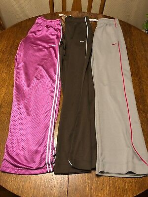 Lot of 3 GIRL'S NIKE DRI-FIT BROWN PINK LARGE L CASUAL POLYESTER ATHLETIC PANTS