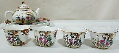 Vintage Mini Japanese Tea Set Under Tray 4 Cups & Teapot Geishas Floral c1970s