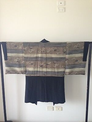 Vintage Men's Black Silk Japanese Haori Jacket Costume Robe Samurai