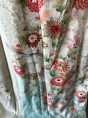 Vintage Long Silk Decorative Floral Authentic Kimono Costume Embroidered Robe