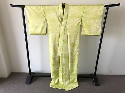 Vintage Long Silk Chartreuse Shibori Fully Lined Authentic Kimono Costume