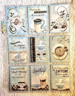 Set of 9 Cards~Shabby Chic~Coffee Time~Pocket Pen Pal Letter Kit /w Sleeve~#29N