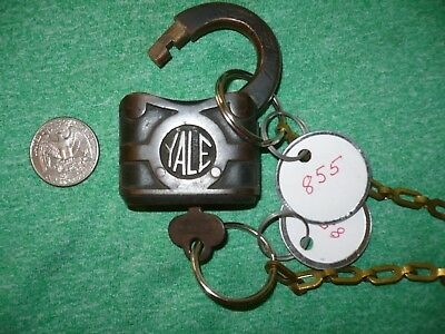ANTIQUE YALE BRASS PADLOCK FROM 1800s WITH WORKING KEY