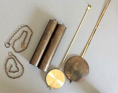 """Antique Pair of 7"""" Brass Weights Pendulums and Weight Chains for Repair Parts"""