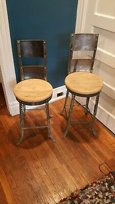 Pair of Vintage Industrial Angle Steel Co Stools Metal from a Chevy plant