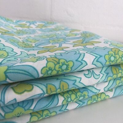 VINTAGE Retro Floral Cotton Sheet FABRIC Sewing