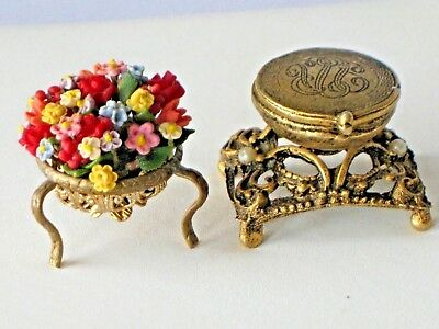 Antique Vintage Brass Flower Basket On Stand & Footed Box Inkwell Miniatures