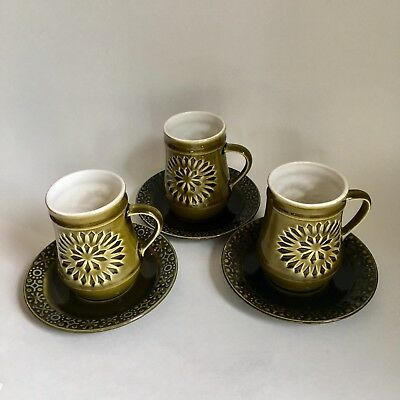 Connemara Celtic Irish Fine Earthenware 3 Saucers Mugs Cups  Green Shamrock Vtg