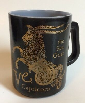 Vintage Capricorn Coffee Mug Federal Glass Collectible Gift Astrology Horoscope