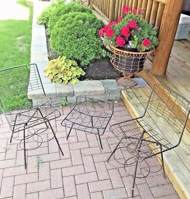 Antique Mid Century Wrought Iron Patio Porch Set Table and 2 Chairs