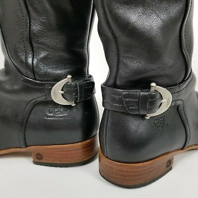 5befc3e9f4aa UGG AUSTRALIA GLEE Block Heel Booties Boots BLACK Leather Woman s ...