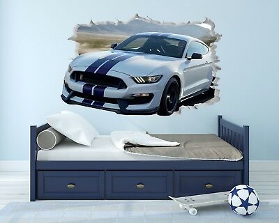 Ford Mustang Wall Hole 3D Decal Vinyl Sticker Decor Room Smashed Muscle Car