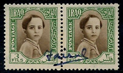 King Faisal II of Iraq autographed his own stamp
