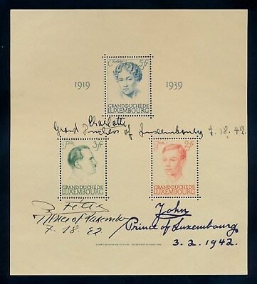 Rare 1939 Luxembourg souvenir stamp sheet autographed by 3 of the Royal Family