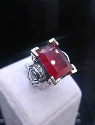 925 Sterling Silver Handmade  Jewelry Red Ruby Ladie's Ring