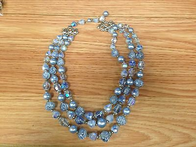Vintage Un-named Sky Blue Faux Stone & Faux Pearl Costume Necklace SEE PHOTOS