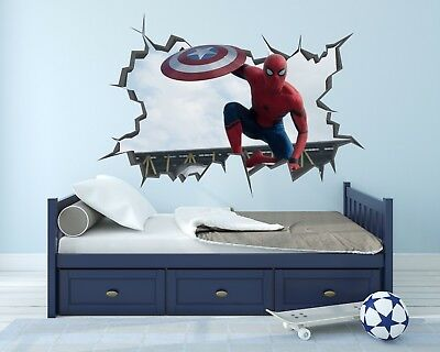 Spider Man Avengers Wall Hole 3D Decal Vinyl Sticker Decor Room Smashed