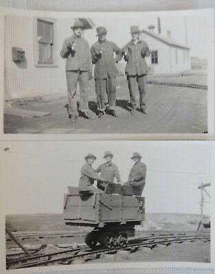 2 Original Mining Photos, Miners with Lamps, Pit Railway Cart, Vintage Antique