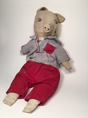 Early 20th Century Antique Homemade Folk Art Clothed Pig Doll