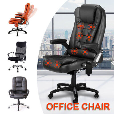 NEW Massage Executive Gaming Office Chair Computer PU Leather Mesh Seat Work AU