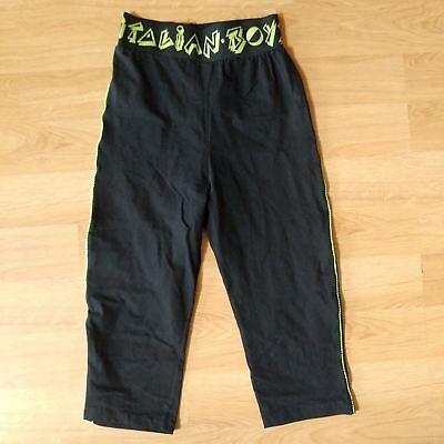 Vintage Italian Boys Neon Green Size Large Athletic Youth Crop Legging 80s 90s