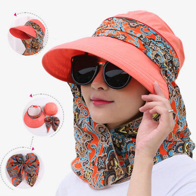 Summer Women Foldable Wide Brim UV Sun Protector Beach Cap Hat Neck Flap Fashion