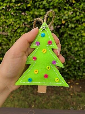 Handmade Christmas Tree Ornaments Hanging Fabric Decoration for Holiday Set of 6