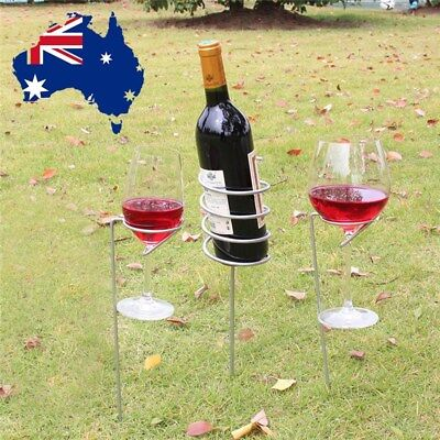 Wine Glass & Bottle Holder Stake Set For Outdoor BBQ Garden Picnic Beach Park